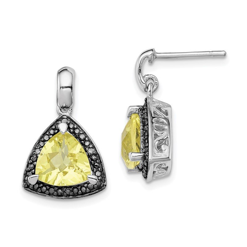 Quality Gold Sterling Silver Rhodium-plated Lemon Quartz and Diamond Earrings
