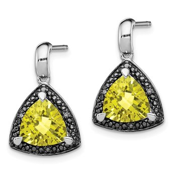 Sterling Silver Rhodium-plated Lemon Quartz and Diamond Earrings