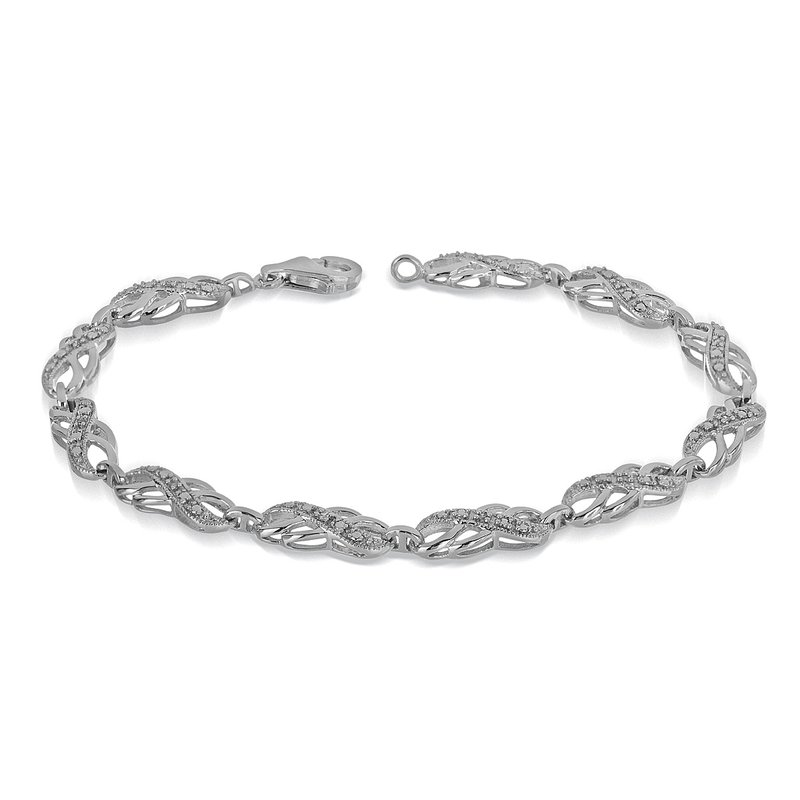 BB Impex 925 SS and Diamond Double Infinity Bracelet with Milgrain Design