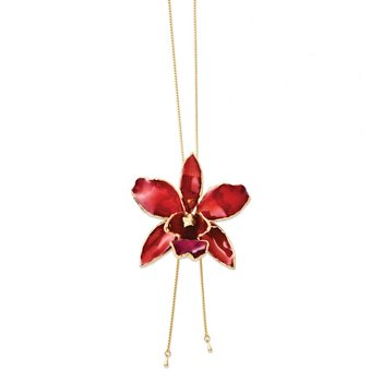 24K Gold-trim Lacquer Dipped Red Cattleya Orchid Adj Gold-tone Necklace