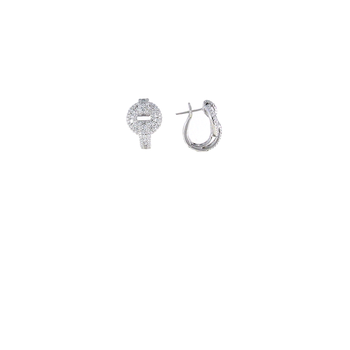 18Kt White Gold Diamond O Earrings