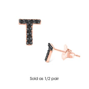"Black Diamond Single Initial ""T"" Stud Earring (1/2 pair)"