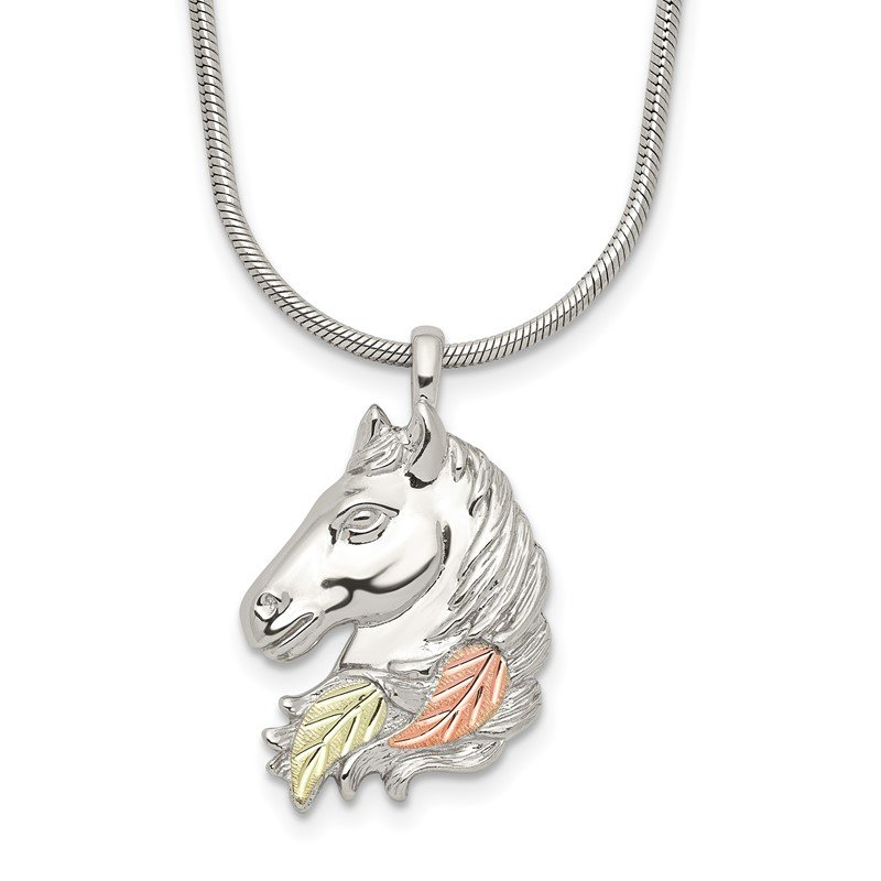 Quality Gold Sterling Silver & 12K Lg Horsehead Necklace