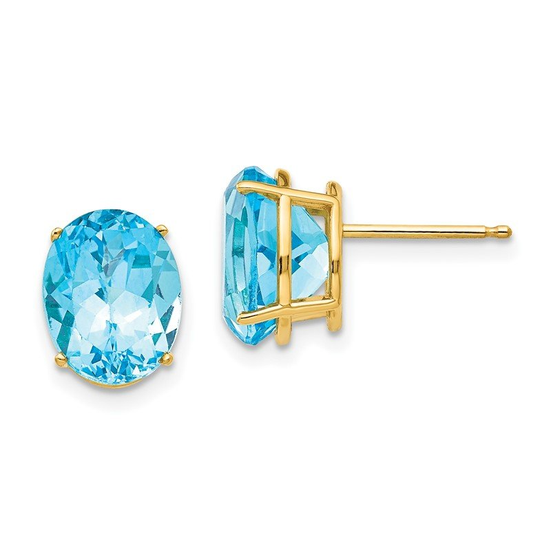 J.F. Kruse Signature Collection 14k 10x8mm Oval Blue Topaz Earrings