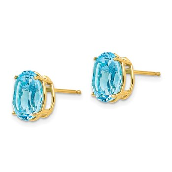 14k 10x8mm Oval Blue Topaz Earrings