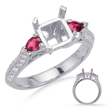 White Gold Ruby & Dia Engagement Ring