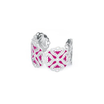 316L stainless steel and fuchsia enamel