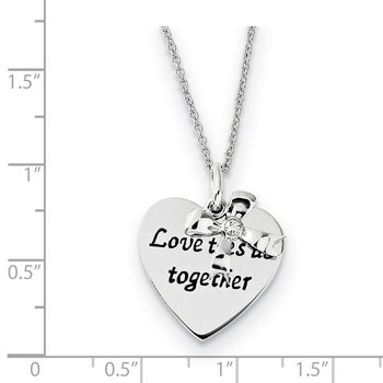 Sterling Silver Antique CZ Love Ties Us Together 18in Heart & Bow Necklace