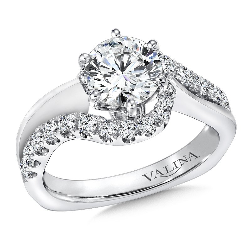 Valina Mounting with side stones .56 ct. tw., 1 ct. round center.