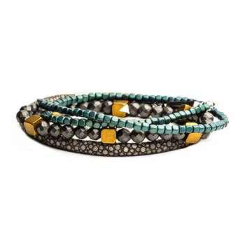Grey Leather, Green and Grey Bead Stackable Bracelets