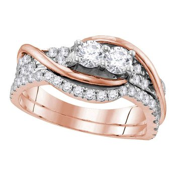 14kt Rose Gold Womens Round Diamond 2-stone Bridal Wedding Engagement Ring Band Set 1.00 Cttw
