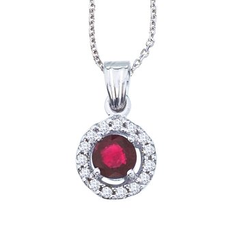 14K White Gold 5mm Round Ruby and Diamond Pendant