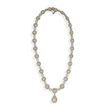 Hanging Pear Two Tone Diamond Necklace