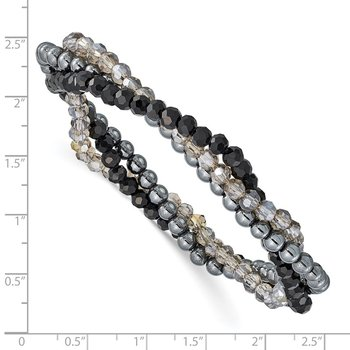 Sterling Silver Black and Smoky Crystal, Hematite 3pce Stretch Bracelet