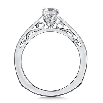 Diamond Solitaire Engagement Ring Mounting in 14K White Gold (.06 ct. tw.)