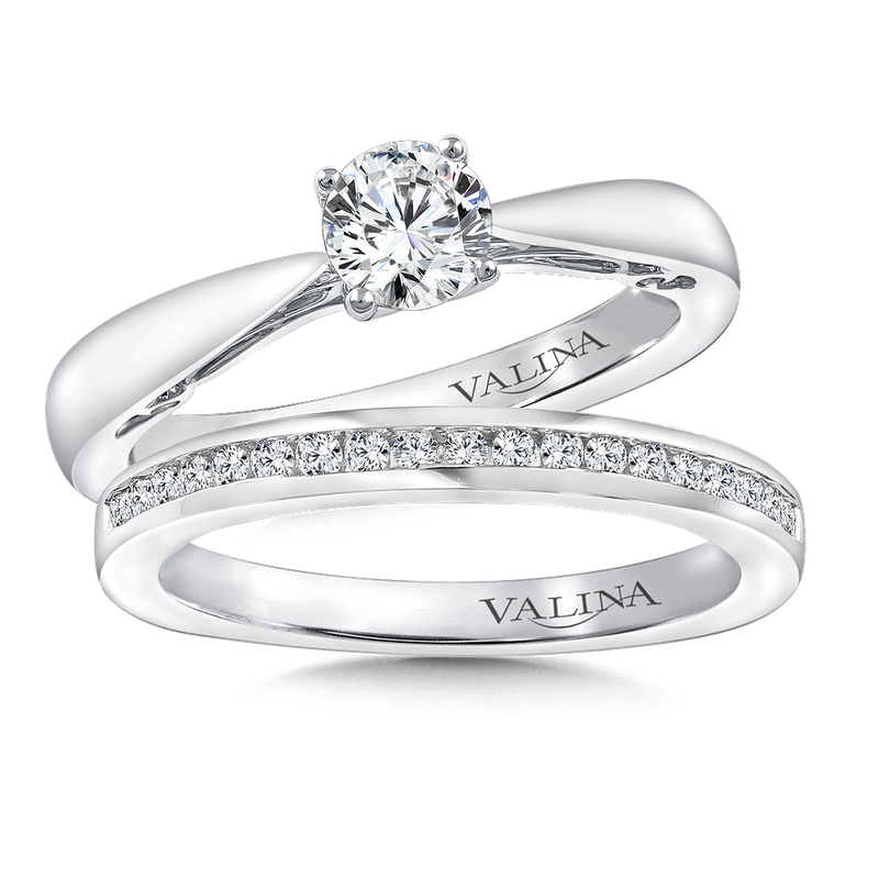 Valina Diamond Solitaire Engagement Ring Mounting in 14K White Gold (.06 ct. tw.)