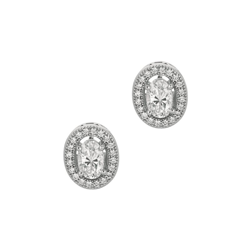 Royal Chain Silver Oval CZ Border Earring