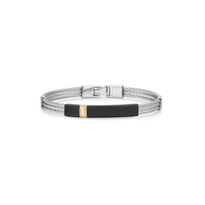 ALOR Grey Cable Bracelet with Rectangular Steel Station & 18kt Yellow Gold Stripe