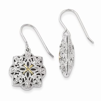 Sterling Silver w/14k Diamond Vintage Earrings