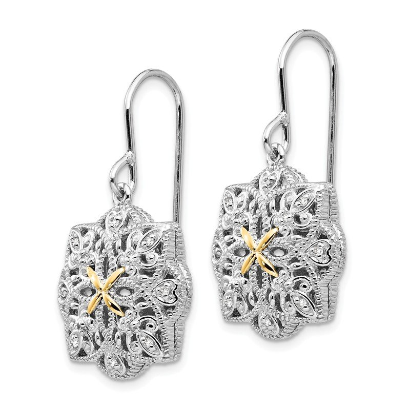Shey Couture Sterling Silver w/14k Diamond Vintage Earrings