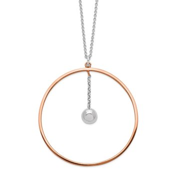 Sterling Silver Rhodium-plated Rose gold-plated D/C 1.5in ext Circle Neckla