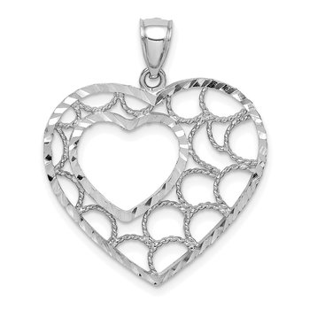 14K White Gold Diamond-cut Heart Pendant