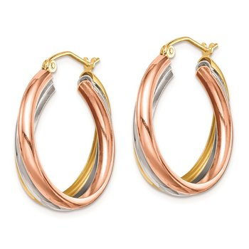 Sterling Silver RH-plated Yellow/Rose Vermeil Triple Hoop Earrings