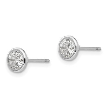 14k White Gold Madi K 5mm Bezel Set CZ Post Earrings