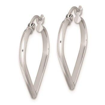 Sterling Silver Rhodium Plated Heart Hoop Earrings