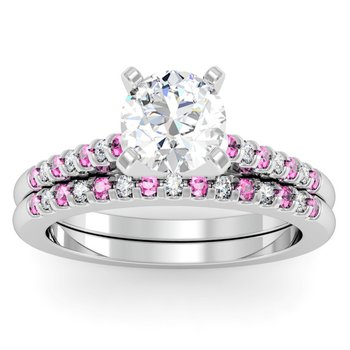 Cathedral Channel set Pink Sapphire & Diamond Band