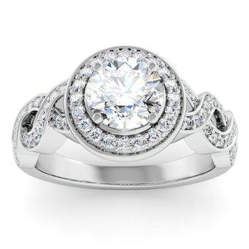Swirl Design Halo Engagement Ring