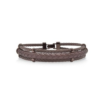 Bronze Cable & Brown Leather Bracelet