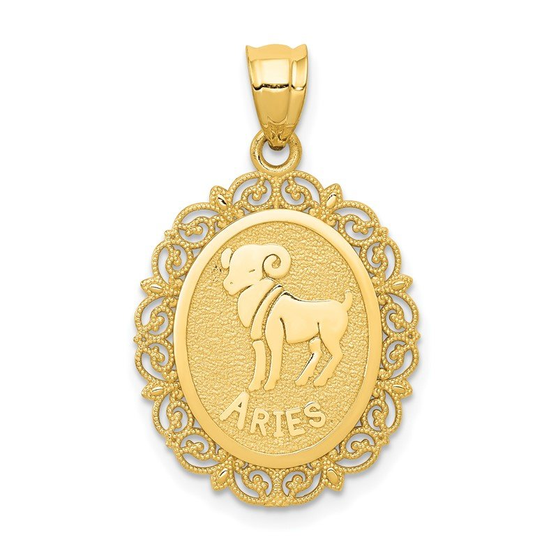 Quality Gold 14k Solid Satin Polished Aries Zodiac Oval Pendant