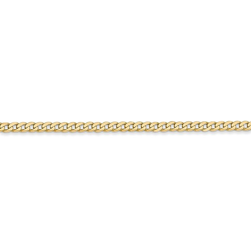 14k 2.2mm Flat Beveled Curb Chain Anklet
