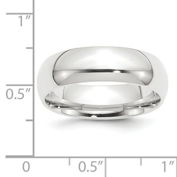 Platinum 8mm Half-Round Comfort Fit Lightweight Band