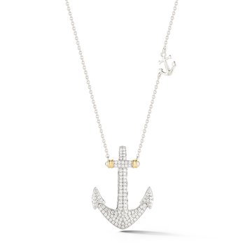 "14K Diamond pave anchor T.W 0.57C 1 long by 3/4"" wide"