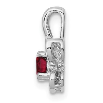 Sterling Silver Rhodium-plated Created Ruby Pendant