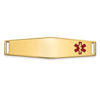 14K Epoxy Enameled Medical ID Off Ctr Soft Diamond Shape Plate # 819