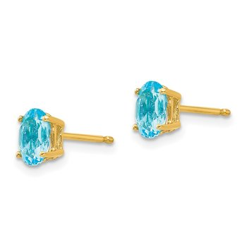 14k 6x4mm Oval Blue Topaz Earrings