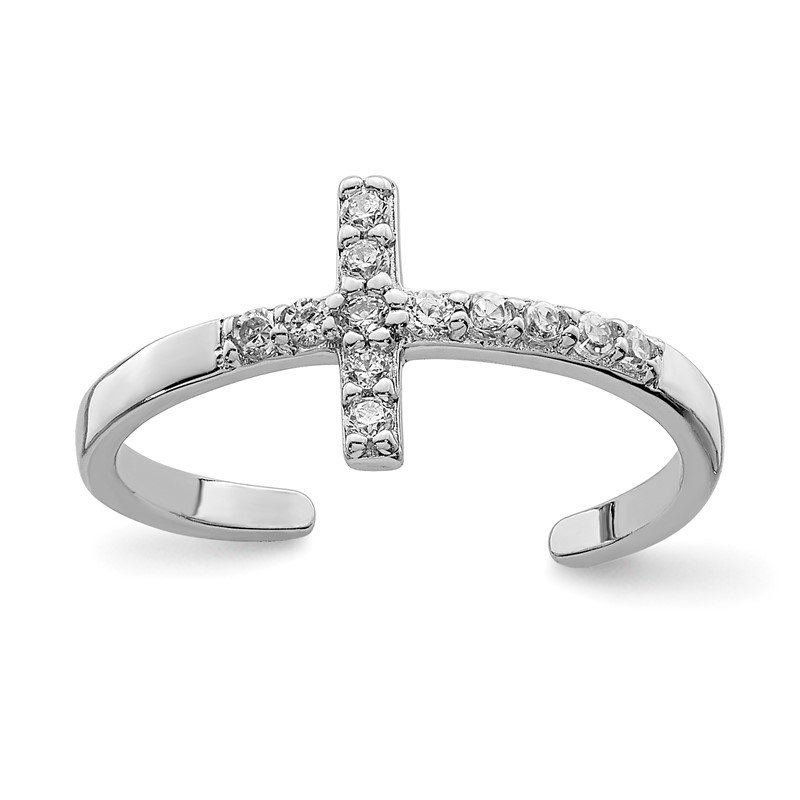 Quality Gold Sterling Silver Rhodium-plated CZ Cross Toe Ring