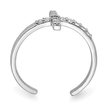 Sterling Silver Rhodium-plated CZ Cross Toe Ring
