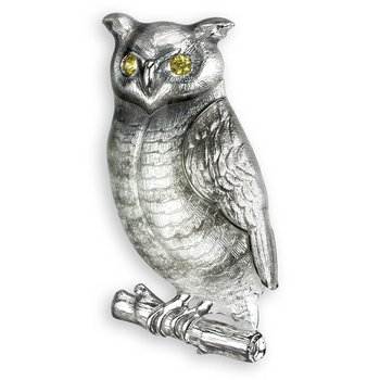 Gray Owl Brooch-Pendant.Sterling Silver-Yellow Sapphires