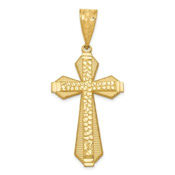 14k Diamond-cut Center Cross Pendant