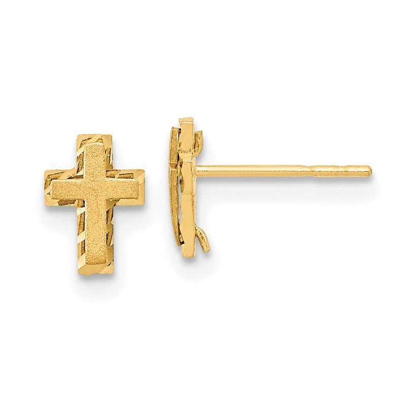 Quality Gold 14k Madi K Satin & Polished Diamond-cut Cross Post Earrings