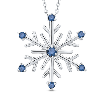 Snowflake Fashion Pendant with Chain In Sterling Silver 1/10 ct Round Blue Diamond