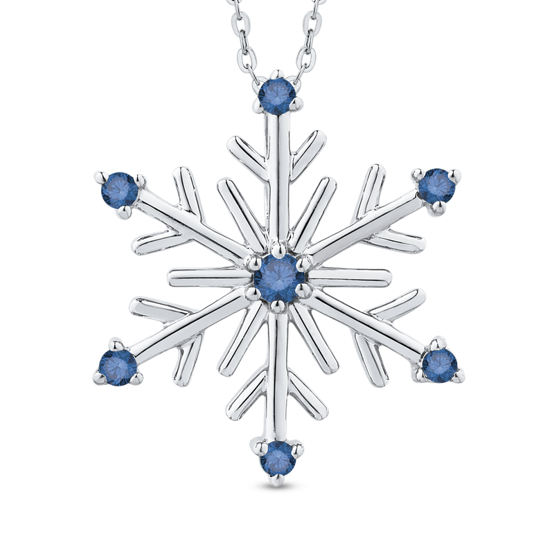 Essentials Snowflake Fashion Pendant with Chain In Sterling Silver 1/10 ct Round Blue Diamond