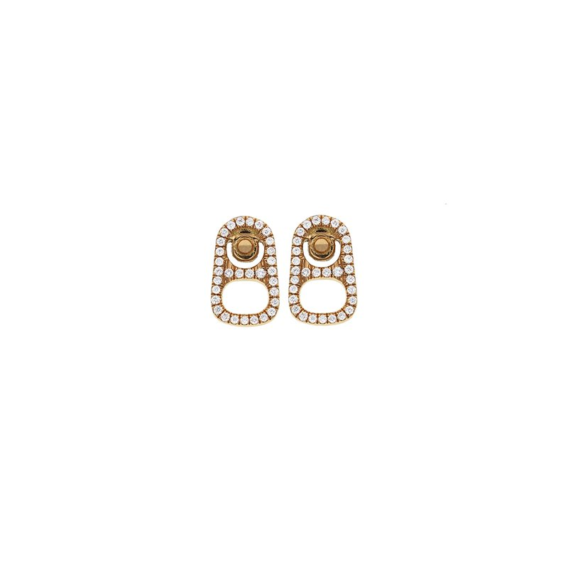 King Baby 18K Gold Small Pop Top Stud Earrings W/ Pave Diamonds