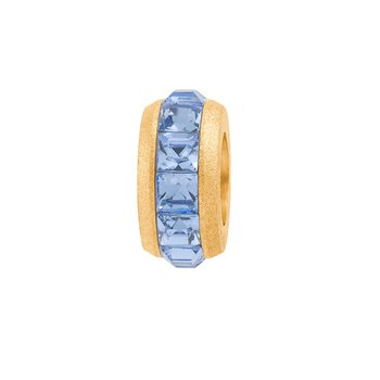 316L silk-finished stainless steel, gold pvd and light-blue Swarovski crystals