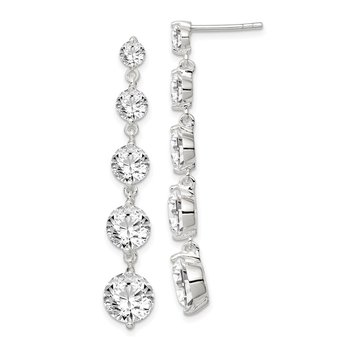 Sterling Silver Rhodium-plated Clear CZ Journey Dangle Post Earrings