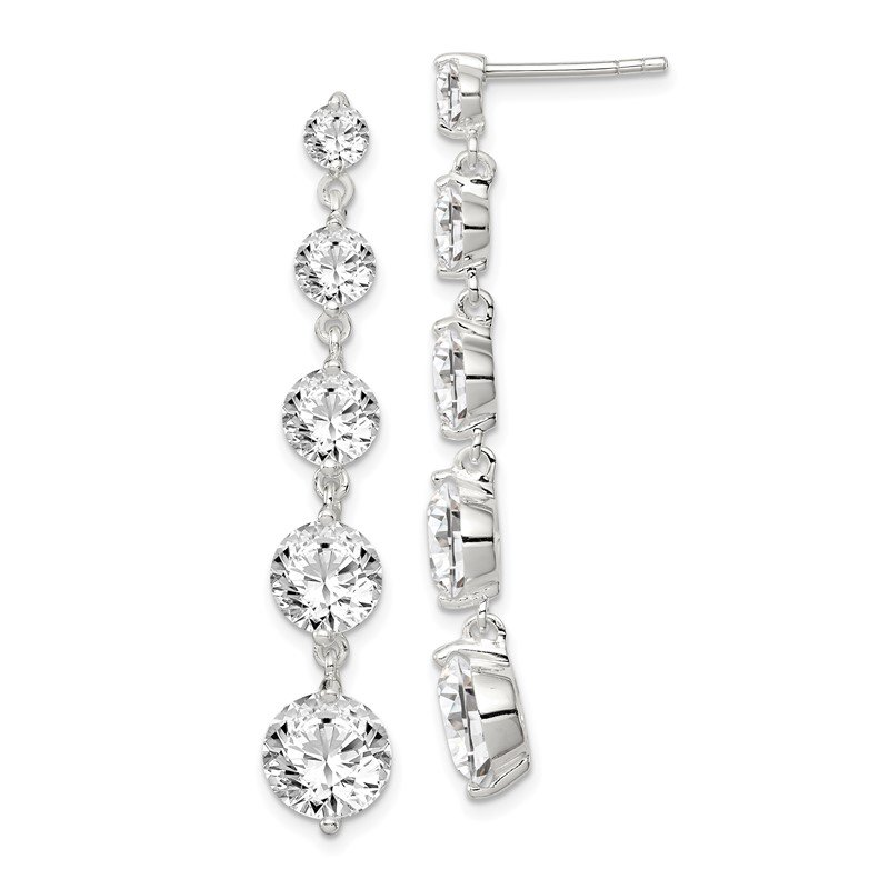 Quality Gold Sterling Silver Rhodium-plated Clear CZ Journey Dangle Post Earrings